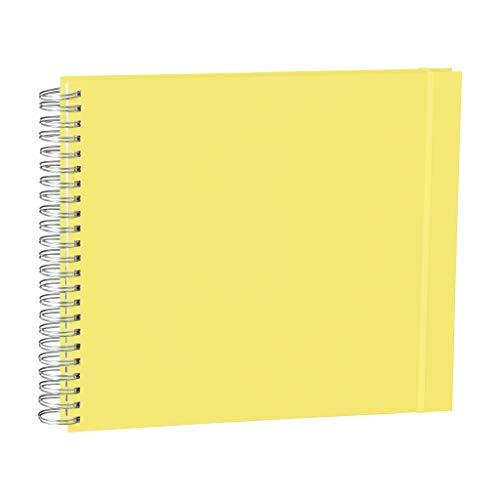 Semikolon (360355) Maxi Mucho Spiral-Fotoalbum Cream Lemon (Hell-Grün), 90 S. cremeweißer Fotokarton, 2 Taschen, Gummiband