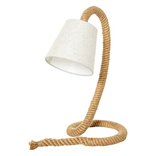 HOMCOM Tischlampe mit Hanfseilbasis und Lampenschirm aus Leinenoptik, E14 Lampensockel, Hanf, Polyester, Metall, 29,5L x 21B x 43,5H cm