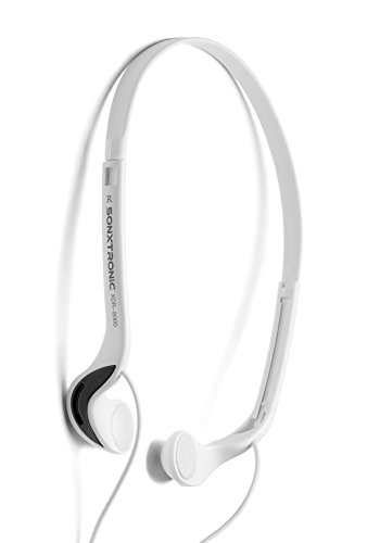 SONXTRONIC White ICE Xdr-8001 Vertical in Ear Ultralight Sport Running Headband Headphones (mdr-w08l Style White and Silver)