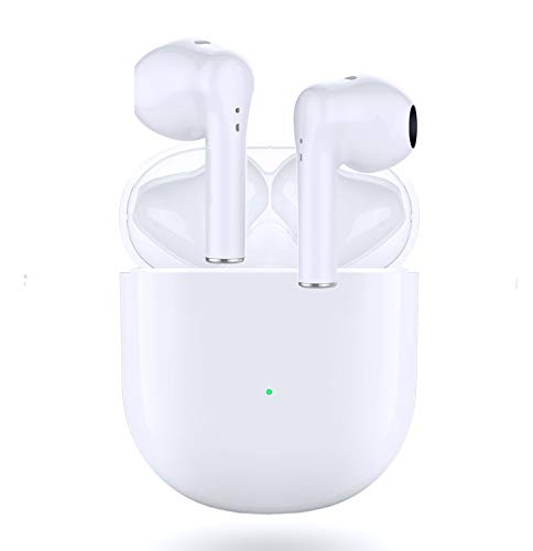 Bluetooth 5.0 Headphones Wireless Earbuds with【24Hrs Charging Case】 3D Stereo Semi-in-Ear Headphones IPX5 Waterproof Earpods Built-in Mic, Pop-ups Auto Pairing for iPhone/Airpod/Android
