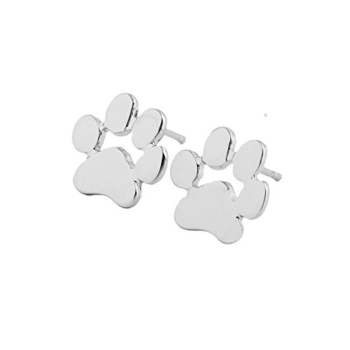 U/K 1Pair Lady Girl Earrings Silver Dog Paw Ear Studs Jewelry Accessories Love Gift SuperiorQuality and Creative