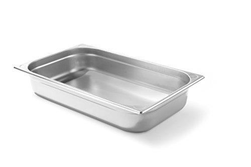 HENDI Gastronormbehälter, Temperaturbeständig von -40° bis 300°C, Heissluftöfen-Kühl- und Tiefkühlschränken-Chafing Dishes-Bain Marie, Stapelbar, 13,2L, GN 1/1, 530x325x(H)100mm, Edelstahl