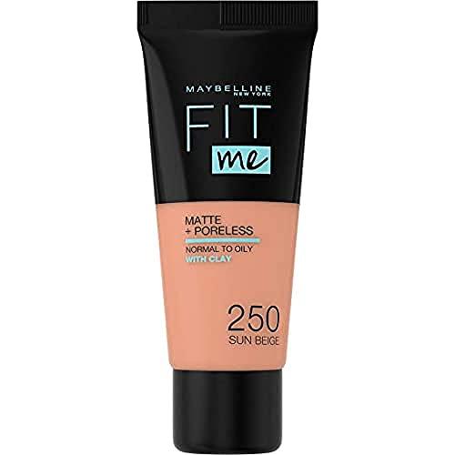 Maybelline New York, Base de Maquillaje que Calca a tu Tono Fit me! Mate y Afinaporos, Color: 250 Sun Beige