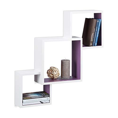 Relaxdays kubusrek Rek 15 x 66 x 66 cm wit/violet