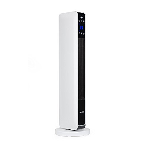 Klarstein Hightower Heat - Riscaldatore elettrico ad Aria , Termoventilatore a Torre , 2200 Watt , 2 livelli 1200W   2200 Watt , Termostato da 10 a 49°C , oscillazione attivabile , Bianco