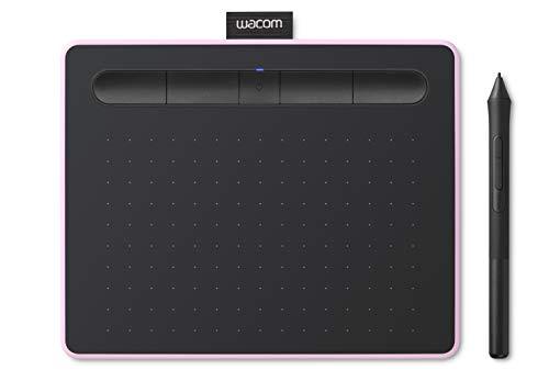 Wacom Intuos S Stifttablett mit Bluetooth, kabelloses Grafiktablett zum Malen, Skizzieren und Retuschieren von Fotos mit 5 Kreativ-Software-Downloads, Himbeere – ideal für Home-Office und E-Learning