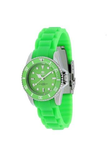 Ref. B42096/11 Reloj Marea Señora, analógico, Caja Plateada, Esfera Verde, Correa de Caucho Verde, garantía 2 años.