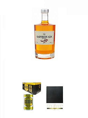 Boudier Saffron Frankreich Gin 0,7 Liter + Goldberg Tonic Water DOSE 8 x 0,15 Liter Karton + Schiefer Glasuntersetzer eckig ca. 9,5 cm Durchmesser