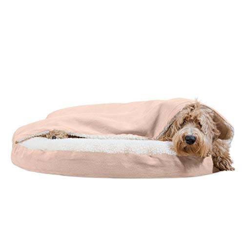 Furhaven Pet Dog Bed - Orthopedic Round Cuddle Nest Faux Sheepskin Snuggery Blanket Burrow Pet Bed w/ Removable Cover for Dogs & Cats, Cream, 35-Inch