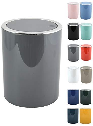 MSV Pattumiera 6 Litri, ABS plastica, Collezione KAMAKA, Colore: Grigio, Ø18,5 x 26 cm