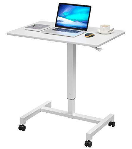 27'' Pneumatic Adjustable Height Desk Mobile Laptop Standing Desk Cart, Portable Sit Stand Rolling Table for Home Office by FitDesk White