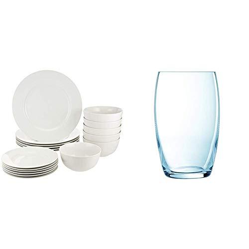Amazon Basics Vajilla para 6 personas (18 piezas) + Luminarc Versailles - Set 6 vasos forma alta, 37 cl