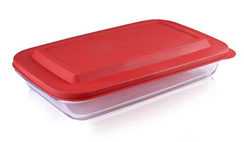 Bovado USA Rectangular Glass Bakeware 3 Quart with BPA-Free Lid | Superior Oblong Glass Baking Dish for Casseroles, Lasagna, Leftovers, Cooking, | Essential Kitchen Item