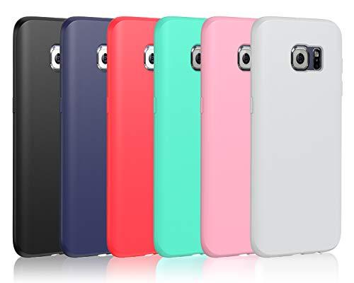 iVoler 6 Pezzi Cover per Samsung Galaxy S6 Edge, Ultra Sottile Silicone Custodia Morbido TPU Case Protettivo Gel Cover per Samsung Galaxy S6 Edge (Nero, Blu Scuro, Rosso,Verde, Rosa,Trasparente)