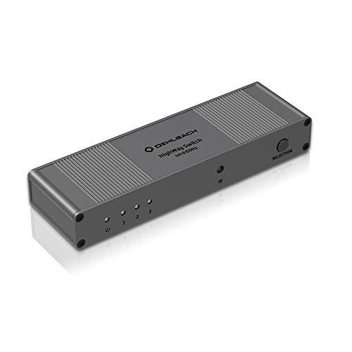 Oehlbach Highway Switch - HDMI 2.0 Verteiler 3:1 - UltraHD HDMI-Adapter mit Fernbedienung (3 In 1 Out Schalter, 4K, HDR, Dolby Vision, 3D, 1080p, 2160p, UHD, 4K mit 60Hz) - Metallic-braun
