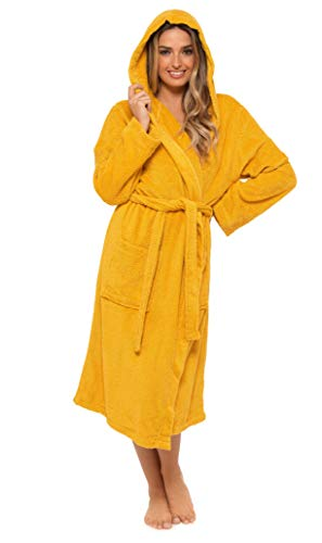 CityComfort Robe de Chambre pour Femmes en Coton éponge Peignoir de Luxe très Absorbant Capuche et châle Serviette de Bain Wrap (M, Moutarde)