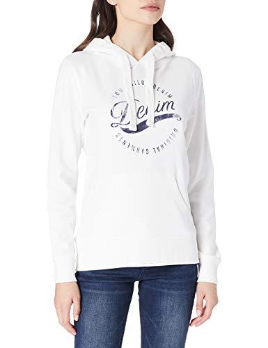 TOM TAILOR Denim Damen 1026448 Hoodie Sweatshirt, 10332-Off White, M