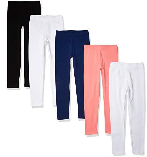 Amazon Essentials Leggings-Pants, Paquete de 5 Negro/Blanco/Azul Marino/Rosa, 2 años, Pack de 5