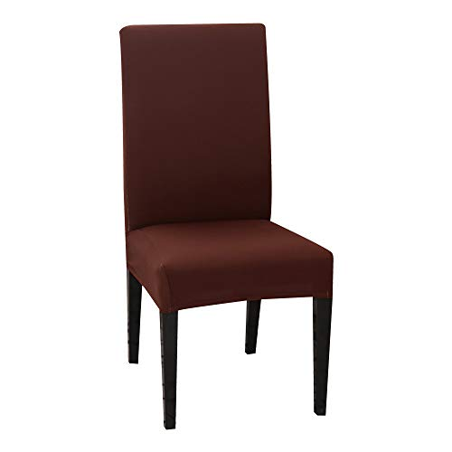 MZSC Solid Color-Stuhl-Abdeckung Spandex Stretch Elastic Slipcovers Hussen for Küche Esszimmer Wedding Banquet Hotels Stuhlbezug (Color : Light Coffee, Size : 1Pcs)