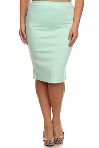 Plus Size Solid Print Casual Comfy Office Stretchy Pencil Midi Skirt/Made in USA Aqua 3XL