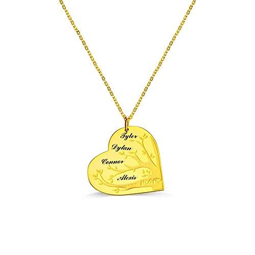 Collar De Corazón Con Nombre Personalizado Con 1-12 Nombres Collar Con Colgante De Corazón Con Encanto De Mujer De Plata De Ley 925 Collar De Promesa Collar Familiar Personalizado(Oro-20')