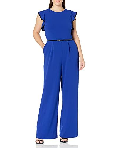 Calvin Klein Women's Belted Jumpsuit, Ultramarine/Black Piping, 8