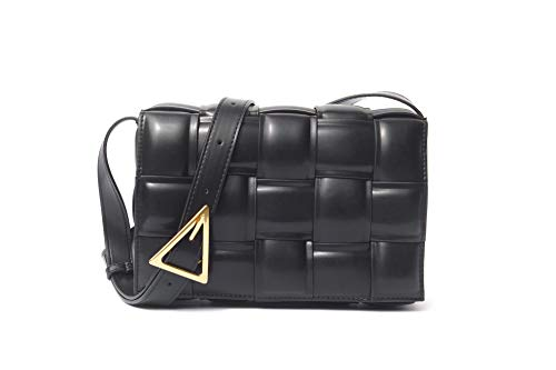 B.Bella Padded Cassette Crossbody Woven Womens Bag (Medium, black)