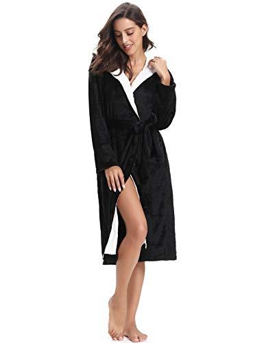 Abollria Albornoz Unisex Otoño Invierno Unisex Coral Fleece Mujer Batas Fashion Elegantes Vintage Cómodo Kimono Manga Larga con Bolsillos Camisón