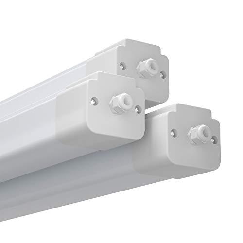Anten flimmerfreie Led Feuchtraumleuchte 150 cm in Tageslichtweiß von 45W mit 4500 Lumen und Schutzart IP65 für Beleuchtung mit Reihenschaltung im Keller, Garage und Werkstatt, 3 Stück.