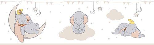 Rasch Textil selbstklebende Papierborte Bordüre - Kollektion Disney Fantasy Deco U35203 Dumbo Elefant weiß beige