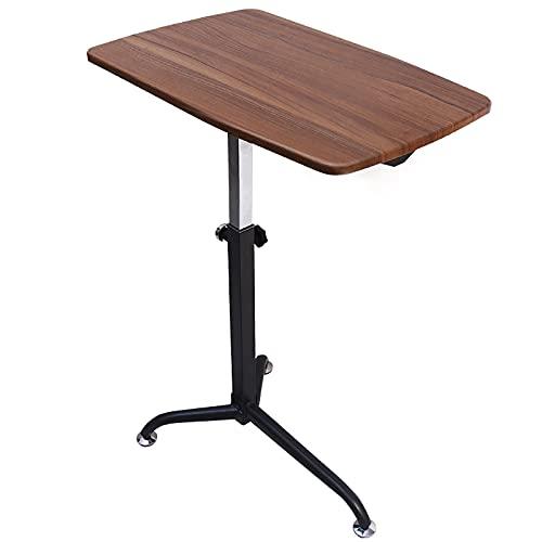 VIY Escritorio de Pie Móvil para Ordenador Portátil | Mesa Auxiliar de Sofa de Altura Ajustable 67-91.5 cm | Soporte Laptop con Ruedas de Bloqueo