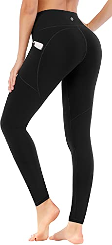 Ewedoos High Waisted Leggings with Pockets for Women, Yoga Pants for Women Workout Leggings for Women with Pockets (Ew330 Black, Small)