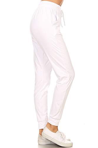 Leggings Depot JGA128-WHITE-G-M Solid Jogger Track Pants w/Pockets, Medium