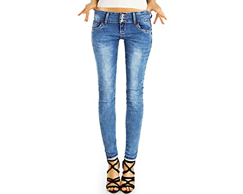 bestyledberlin J20i-2 - Pantaloni elasticizzati da donna, con 3 bottoni Blu 42