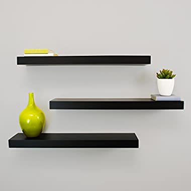 Kiera Grace Maine Wall Shelf, 24-Inch, Pack of 3, Black