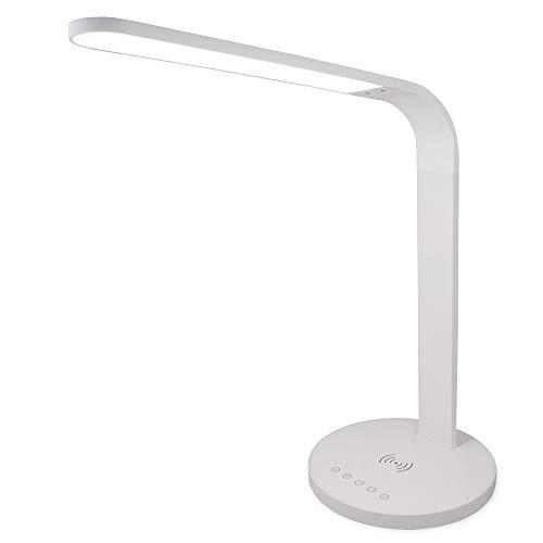 FeinTech LED Schreibtischlampe kabellos laden Wireless Charger Drahtlos DIMMBAR Weiß