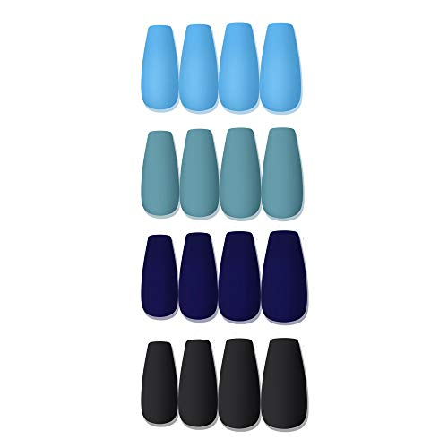 Laza 96 Pcs Colorful Fake Nails 4 Pack Long Ballet Ballerina Coffin Tiffany Purplish Pale Blue Full Cover Long Matte Artificial Acrylic Nails - Ocean Blue