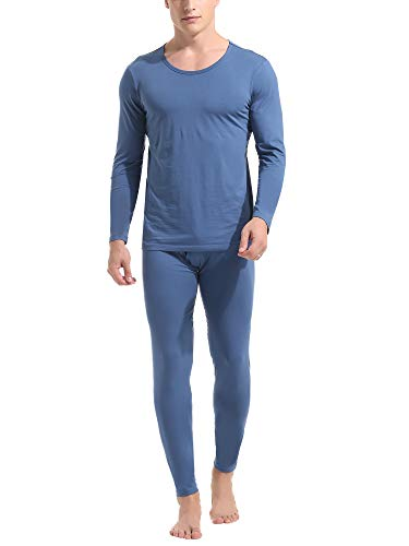 Amorbella Mens Warm Winter Insulated Cotton Thermal Undershirts and Underpants(Blue,Small)