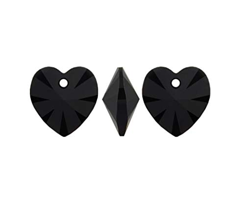 25pcs Authentic Swarovski Xilion #6228 10mm (0.39 inch) Heart Shaped Pendant Jet Black Crystal beads for Jewelry Craft Making SWA-H23
