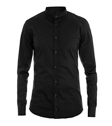 Giosal Camicia Uomo Collo Coreano Tinta Unita Nera Slim Cotone Akirò Casual Nero-L