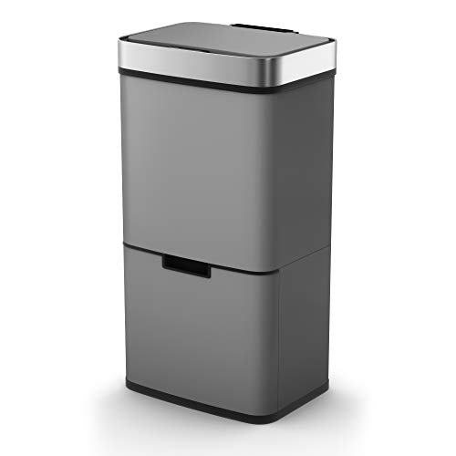 An image of the Morphy Richards 977121 Kitchen Bin, Pro Recycling Sensor Waste Bin with Two Compartments and Removable Food Caddy, Stainless Steel, Titanium, 75 Litre