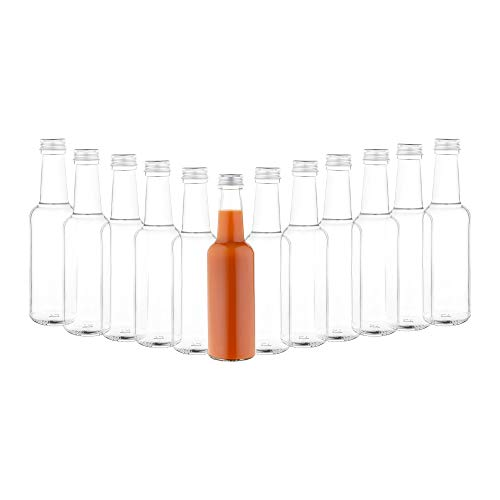 MamboCat 12er Set Geradhalsflasche 250 ml + Schraubverschluss Silber I Abfüllen von Essig & Öl, Sirup, Most, Bier, Likör, Saft + Wein I runde Trinkflaschen