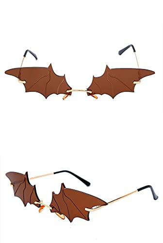 ASZX Gafas de Sol Frescas de la decoración de murciélagos de murciélagos pequeños Gafas de sombrilla Personalidad Personalidad 622 (Frame Color : Gold, Size : Brown)