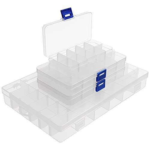 BELLE VOUS Caja Almacenaje Plastico Transparente (Pack de 4) Contenedores de Tamaño Pequeño, Mediano y Grande con Divisores Desmontables – para Joyas, Tornillos, Abalorios, Productos Manualidades