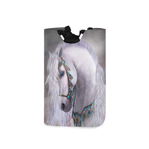 N\A Wäschekorb Faltbarer Eimer kollabiert Wäschekorb Waschbehälter Weißes Pferd für Heimorganisator Kinderzimmer Aufbewahrung Babykorb Kinderzimmer