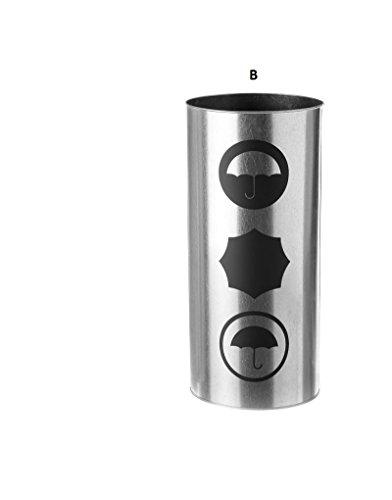 Home Line Paraplustandaard voor paraplu, van verzinkt staal, rond, met icoon decor, 2 modellen om uit te kiezen. 20 x 46 cm. - B