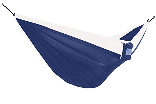 Vivere Nylon Dubbele Parachute Camping Draagbare Hangmat Dubbel 325x201x5 cm marine/Wit