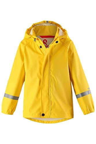 Reima Kinder Regenjacke Lampi Yellow – Regenjacke für Kinder mit abnehmbarer Kapuze – Wasserdichte Kinder Regenjacke mit reflektierenden Details und Wassersäule mind. 8000mm – Größe 92