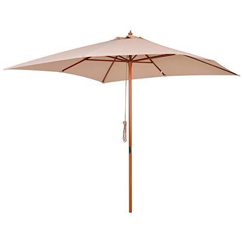 Outsunny Parasol Madera para Jardín Cuadrado 3x3m Sombrilla para Terraza de Madera Bambú Ángulo Ajustable Tela Beige