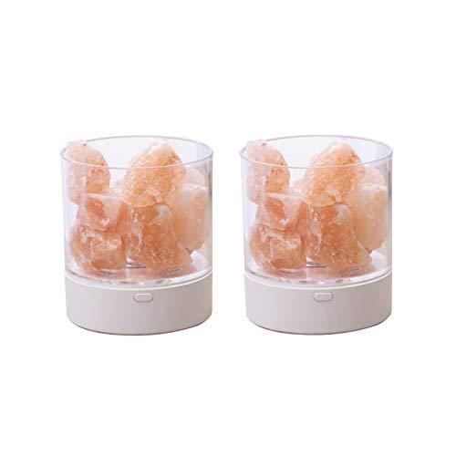 SJHP 2PC Lámpara de Sal del Himalaya de Cristal Natural Lámpara de Mesita de Noche Ajustable de Brillo para Dormitorio Oficina Exterior Camping Lámpara de Yoga